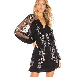Free People Bonjour Embroidered Mini Dress NWT